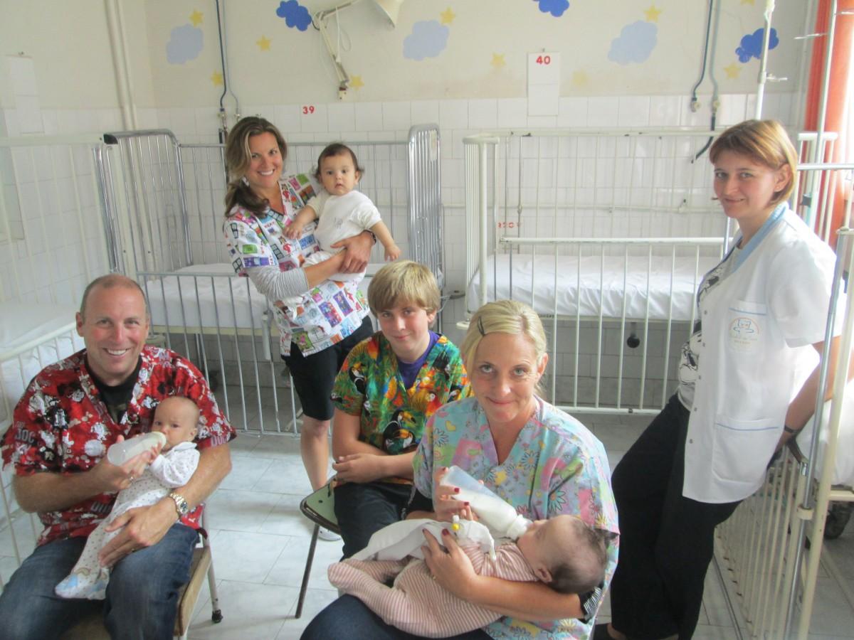 Romania - Giobbis Feeding Babies at Brasov Children's Hospital